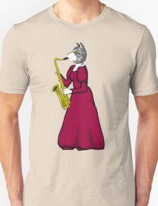 Female Cat playing Saxophone Unisex T-Shirt