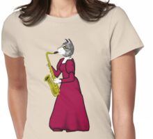 Female Cat playing Saxophone Womens Fitted T-Shirt