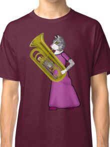 Female Cat Playing Tuba Classic T-Shirt