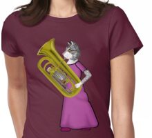 Female Cat Playing Tuba Womens Fitted T-Shirt