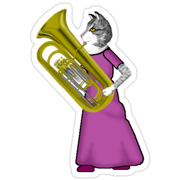 Female Cat Playing Tuba by Celinda