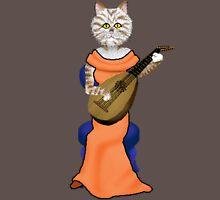 Cat playing Lute  Mens V-Neck T-Shirt