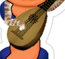 Cat playing Lute  Sticker