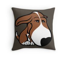 Soppy Bull Terrier Brown and White Coat Throw Pillow