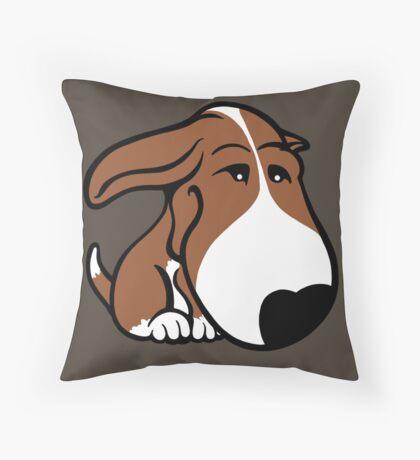 Soppy Bull Terrier Brown and White Coat Throw Pillow