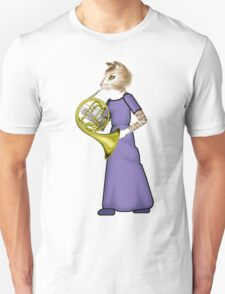 Female Cat playing French Horn Unisex T-Shirt