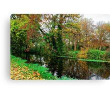 River Wandle in Autumn, Morden, England Canvas Print