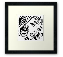 Girl With Hair Ribbon - Roy Lichtenstein Stencil Framed Print
