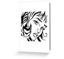 Girl With Hair Ribbon - Roy Lichtenstein Stencil Greeting Card