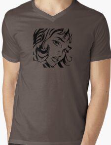 Girl With Hair Ribbon - Roy Lichtenstein Stencil Mens V-Neck T-Shirt