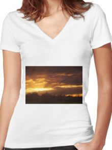 Dramatic Skies at Dusk Over South London, England Women's Fitted V-Neck T-Shirt
