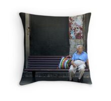 Waiting for the bus 1 Throw Pillow