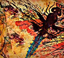 Dragonfly Red Sketchy  by susandetroy