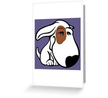 Soppy Bull Terrier White Coat Eye Patch Greeting Card
