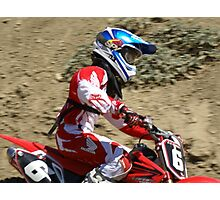 "Motocross Rider - Determined ""Red Honda Rider"" Working hard towards Loretta Lynns ""SPONSOR ME"" Photo"" Photographic Print"