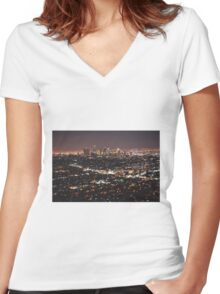 Los Angeles Skyline Women's Fitted V-Neck T-Shirt