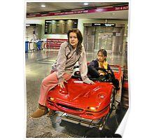 Glamour Girl with Ferrari Poster