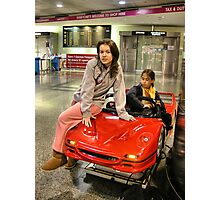 Glamour Girl with Ferrari Photographic Print