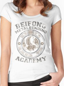 Beifong Metalbending Academy - Silver & Beige Women's Fitted Scoop T-Shirt