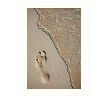 Footprint on the Beach Art Print