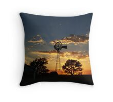 Rays Of Light Behind The Windmill Throw Pillow