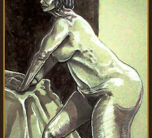 Leaning Female Nude (Digital Alteration of Drawing)- by Robert Dye