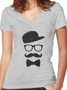 mustace eyes black glass swag Women's Fitted V-Neck T-Shirt