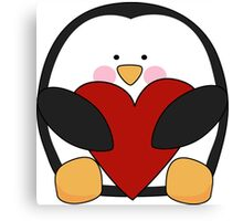 Valentine's Penguin holding heart Canvas Print