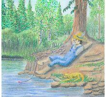 Lets Go Fishing - Oil Pastels by Gordon Pegler