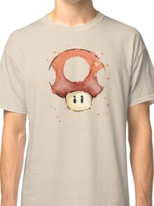 Red Mario Mushroom Watercolor Classic T-Shirt