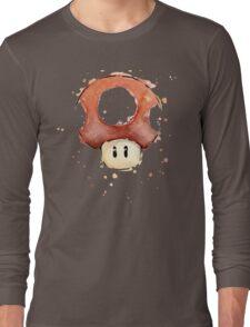 Red Mario Mushroom Watercolor Long Sleeve T-Shirt