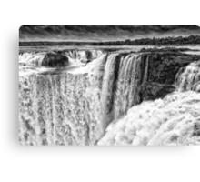 Iguazu Falls - Over the Edge - in Monochrome Canvas Print