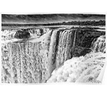 Iguazu Falls - Over the Edge - in Monochrome Poster
