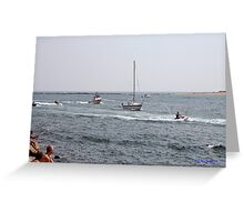 Jet skis on the river Greeting Card