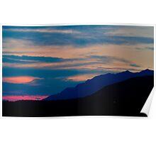 Skiing through Sunset Poster
