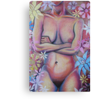 Nude Woman With Flowers Canvas Print