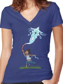 Young Avatar Korra and Raava fly a kite Women's Fitted V-Neck T-Shirt