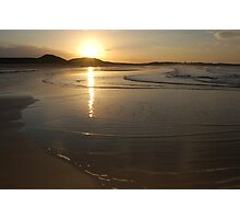 Dunstanburgh beach at sunset Photographic Print