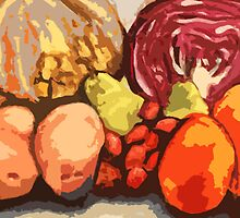 Eat Your Fruit and Vege - digitally enhanced by Jen  Biscoe
