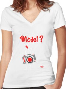 Red - The New Guy - Will you be my Model ? Women's Fitted V-Neck T-Shirt
