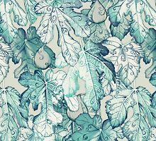 Fig Leaf Fancy - a pattern in teal and grey by micklyn