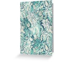 Fig Leaf Fancy - a pattern in teal and grey Greeting Card
