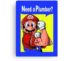 NEED A PLUMBER? MARIO VERSION Canvas Print
