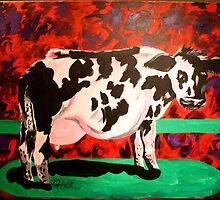 Cow on Fluorescent Background by twin333