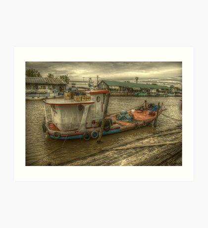 Barco en el puerto de frutos Art Print