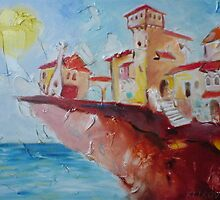 CASTLE ON THE CLIFF, limited edition giclee of D.KLIKOVAC painting  by Drasko Klikovac