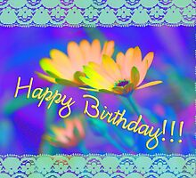Bright Daisies and Lace -Happy Birthday by picketty