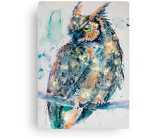 Great horned owl in gold Canvas Print