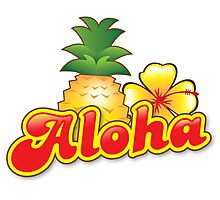 Aloha with cute tropical pineapple and hibiscus flower Photographic Print