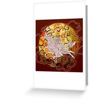 White Wind Horse - Fire in the sky Greeting Card